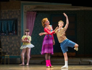 "Samantha Blaire Cutler (Debbie), Janet Dickinson (Mrs. Wilkinson) and Ben Cook (Billy) in ""Billy Elliot the Musical."" Photo by Doug Blemker"