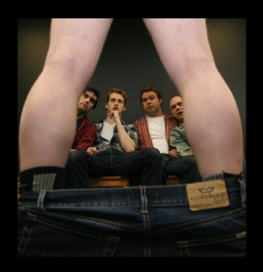 photo credit:  Maya Galbova Actors: from left:  David Johnston, Brian Christensen, Jordan Ward, James Toupin  ( legs: Adam Sanders)